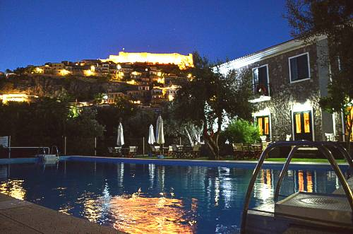Amfitriti hotel amongst native surroundings in Molivos, on the Greek island of Lesvos (Lesbos)